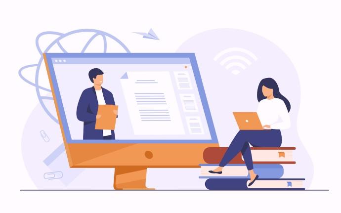 Ilustração de aluna assistindo um webinar via computador - 100 Palestrantes Mais Procurados em Conferências Tecnológicas - Marketing Digital - a Menina Digital